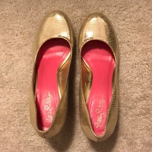 Lilly Pulitzer Gold Wedge Heels